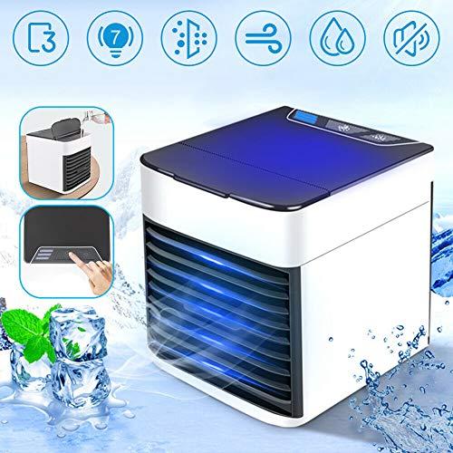 Luchtkoeler, draagbare 3-in-1 mini-ijsblokjes die USB-ventilator koelen voor slaapkamer, kantoor, camping, nachtkastje, slaapzaalairconditioner met 3 ventilatorsnelheden