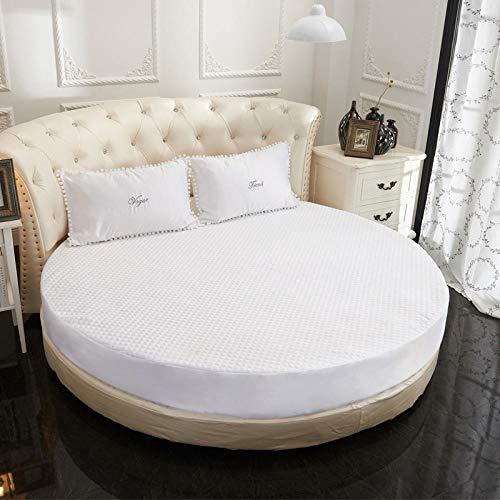 HPPSLT Protector de colchón Acolchado - Microfibra - Transpirable Sábana Acolchada Redonda Engrosamiento-Blanco-Quilted_2m