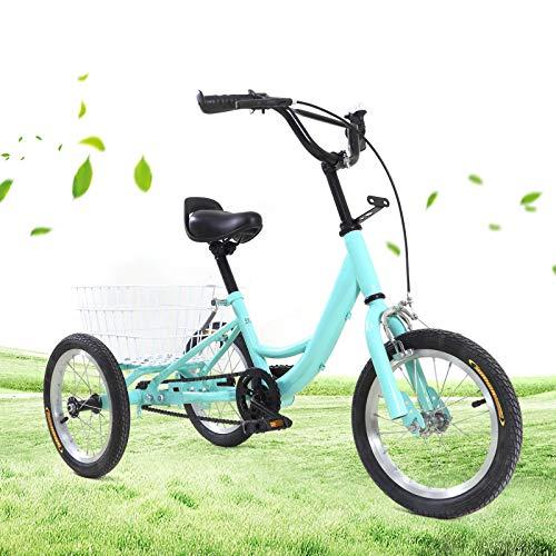 Triciclo de 14 pulgadas para niños,Una sola velocidad,Con cesta de 3 ruedas,Para adultos y niños,Bicicleta de montaña cómoda,Bicicleta al aire libre,Deportes de ciudad,Urbano,84x30x50cm