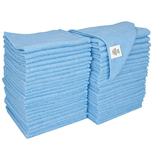 S&T INC. Microfiber Cleaning Cloths, Reusable and Lint-Free Towels for Home, Kitchen and Auto, 50 Pack, Light Blue