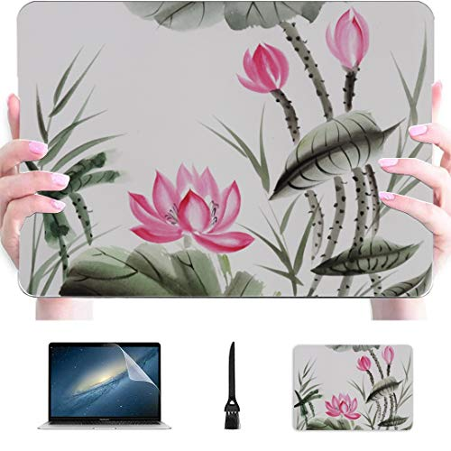 Macbook Pro Laptop Chinese Painting Lotus Flower Green Leaf Plastic Hard Shell Compatible Mac Air 13' Pro 13'/16' Laptop Cover Protective Cover For Macbook 2016-2020 Version