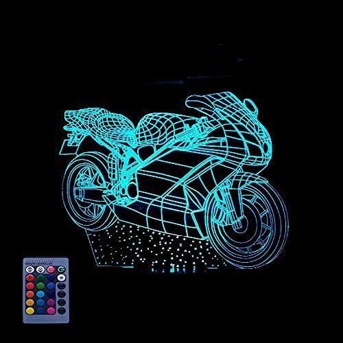 Motocicleta 3D Luz Led Art Deco Luz Led3D Luz Control Remoto 77 Color Luz Nocturna Reemplazo Usb Regalo Para Niños Regalo De Cumpleaños