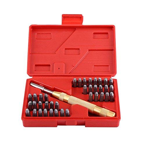 Juego de Punzones para Estampar Letras 38Pcs 26 Sellos de Letras + 9 Numeros + 2 Simbolos + 1 Ponche Herramienta de Estampado de Punzonado de Metal Kit para Marca de Cuero Plásticos