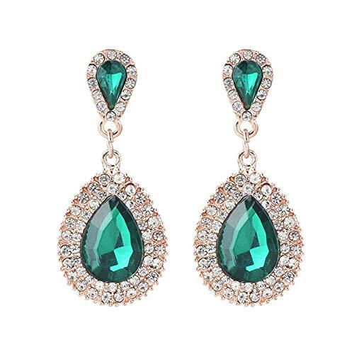 Palace Retro Luxury Full Diamond Gota de agua Pendientes femeninos Temperamento Pendientes de belleza dulce Pendientes-Verde