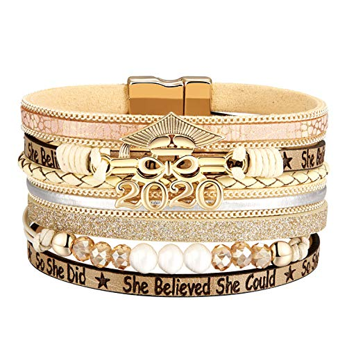 (50% OFF Coupon) 2020 Graduation Leopard Leather Wrap Bracelet $4.98