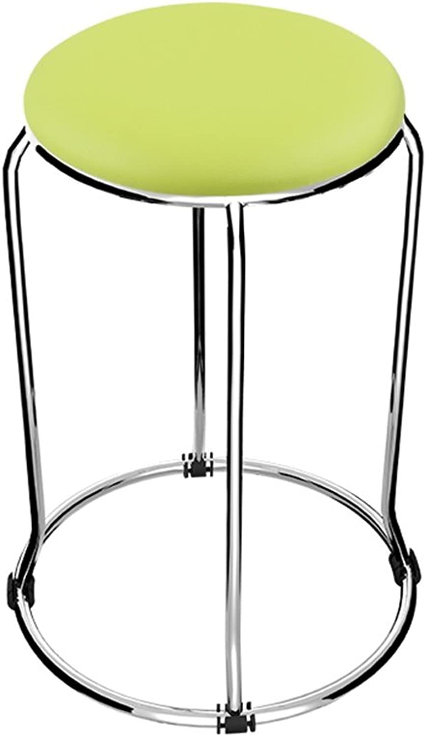 Fashion Stainless Steel Small Round Stool Soft Leather Chair Table High Stool (Green D37cmH47cm)