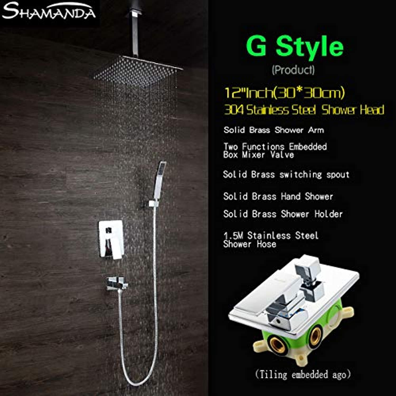 Luxus Messing Bad Wasserhahn Mischer Unterputz Mischer Ventil Dusche Set mit Auslauf Duschkopf Deckenarm Zwei Funktionen Embedded Box, G Style