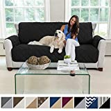 MIGHTY MONKEY Premium Reversible Large Sofa Protector for Seat Width up to 70 Inch, Furniture Slipcover, 2 Inch Strap, Couch Slip Cover Throw for Pets, Dogs, Kids, Cats, Sofa, Black Gray