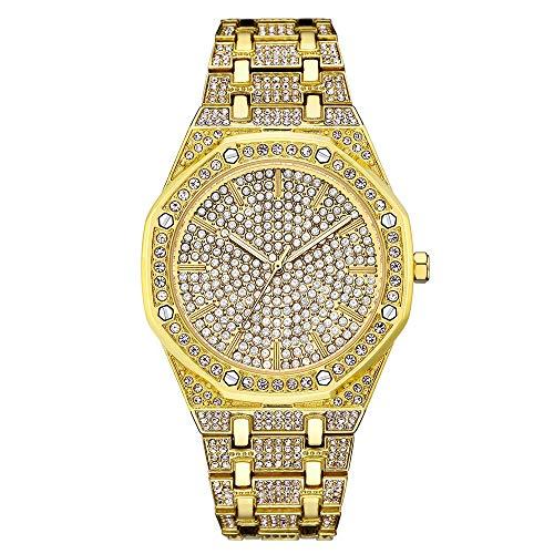 Hip Hop para Hombre Reloj Bling Bing Iced out Diamond Watch con Brazalete Plateado Banda de Metal Correas Rapero Relojes de Pulsera para Hombres