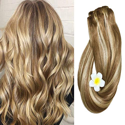 Clip in Hair Extensions Human Hair Golden Brown to Blonde Highlights 14 inch Balayage Ombre Long Hair Extensions Clip on for Fine Hair Full Head 12/613 Remy Hair 70g 7 Hair Piece