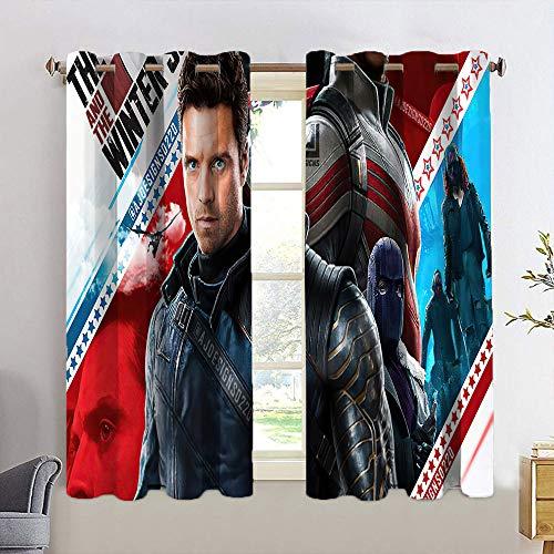 Cortinas personalizadas Chid con aislamiento para el halcón y el soldado de invierno para sala de estar, cortinas de ventana con ojales, 42 x 54 cm