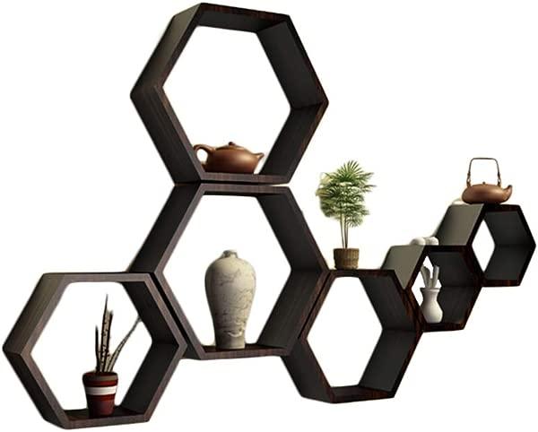 QIANDA Wall Shelves Storage Display Floating Shelf Hexagon Combination Wooden Board Decorative Frame Living Room Width 9cm 2 Sets Optional Size Set B