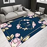 QPCGRA Teppich, Blau Rosa Gelb Kreative Blume Super Weich Flauschig Shaggy Teppich Teppiche...