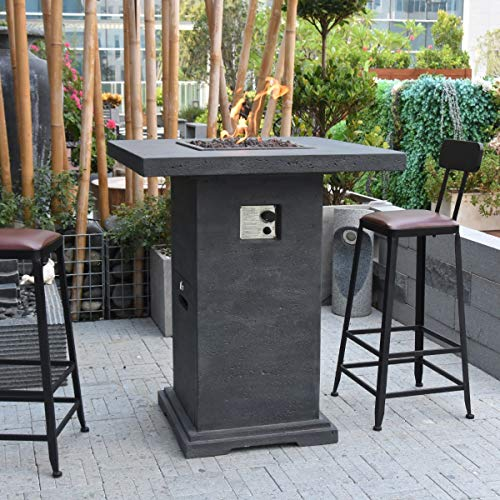 Elementi Montreal HPC Concrete Square 4 Seater Fire Pit Bar Table in Classic Grey