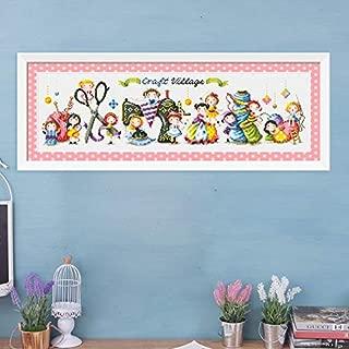 Handmade town cross stitch kit DMC brand thread animal dog count canvas fabric embroidery handmade needlework (14ct unprint 64x24cm)