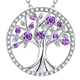 GinoMay Mothers Day Gifts Mum Jewellery Tree of Life Necklace Sterling Silver February Birthstone Amethyst Jewellery for Her Birthday Gifts