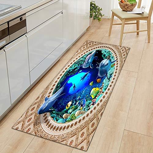 OPLJ 3D Underwater World Küchenmatte Eingang Fußmatte Schlafzimmer Bodendekoration Wohnzimmer Teppich rutschfeste Fußmatte A10 50x160cm