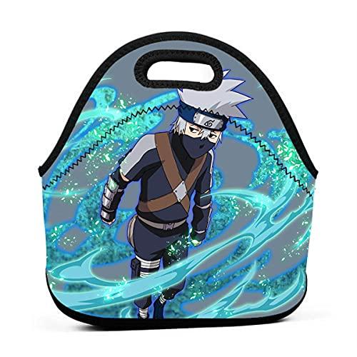 Durable Tear Resistan - Fiambrera con cremallera, diseño de anime japonés Naruto para el almuerzo, ideal para viajes, unisex, para tienda de comestibles, Naruto Blazing Kakashi, tamaño 2
