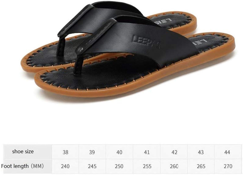 LZK Men's flip-Flops, Leather Thong Sandals, Summer Outdoor Sandals, Lightweight Non-Slip Indoor Soft Slippers Black   38