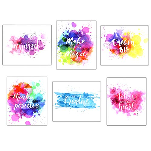 Newbested 6 Pack Watercolor Art Print,inspirational Poster Wall...