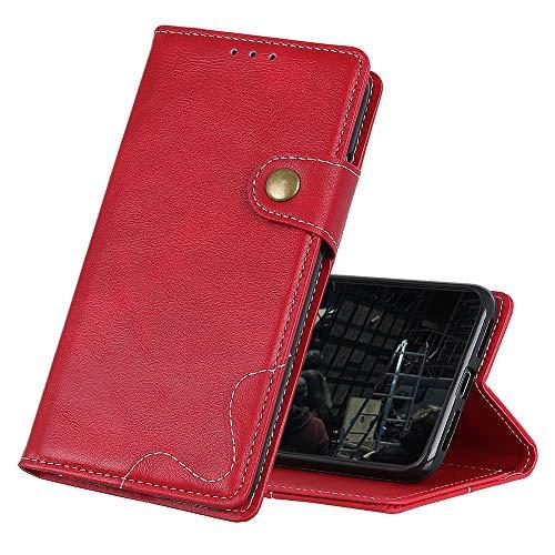 Hauw Funda para Wiko Y81,Cierre Magnético Flip Wallet Carcasa De Telefono para Wiko Y81,Rojo
