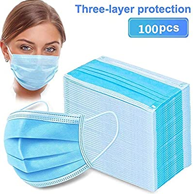 Disposable Face Covers, 3-Ply Safety and Breathable Mouth Covers for Personal Health Air Pollution with Blue Colors(100pcs)