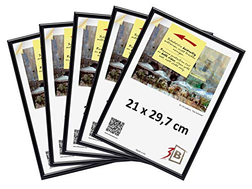 3-B Set 5 STK. - Bilderrahmen Foto - 21x29,7 cm (A4) - schwarz - Fotorahmen, Kunststoffrahmen mit Polyesterglas. Sparpaket!