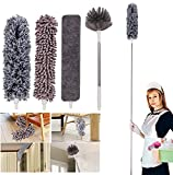 Microfiber Duster with Extension Pole(Stainless Steel) 30 to 100 Inches, Washable Dusters, Reusable Dusters, Bendable Duster for High Ceiling, Cleaning Ceiling Fan, Furniture, Blinds, Cars