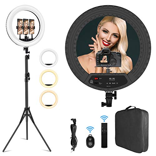 18 inch Ring Light Professional Lighting Kit with Stand Phone Holders for Photo Studio LED Lighting...