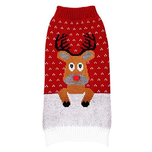 Balacoo Hundepullover Weihnachten Hund Rollkragenpullover Weihnachten Rentier Geweih Muster Strickwaren warme Haustier Pullover für Hundewelpen (blau Größe m)