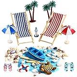 Miniatur-Strandzubehör, Puppenhaus Dekoration Ornament Set Liegestuhl Sonnenschirm Mini-Muscheln Turtle Blue Sand Palme