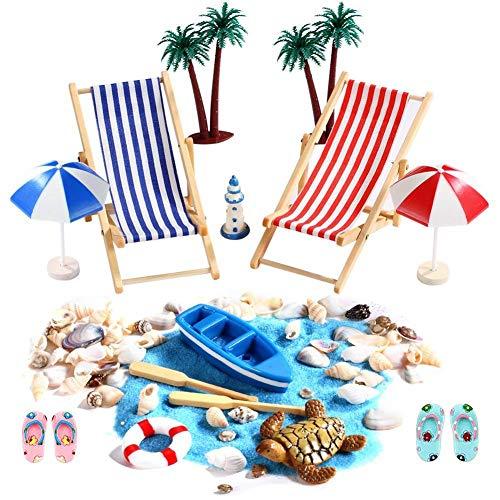 Opfury 15 Stück Strand-Mikrolandschaft Miniliegestuhl Strandkorb Sonnenschirm DIY Bonsai Puppenhaus Zubehör für Geburtstagsgeschenk, Sonnenschirmen, Miniliegestuhl, Shells,Schildkröte, Booten usw