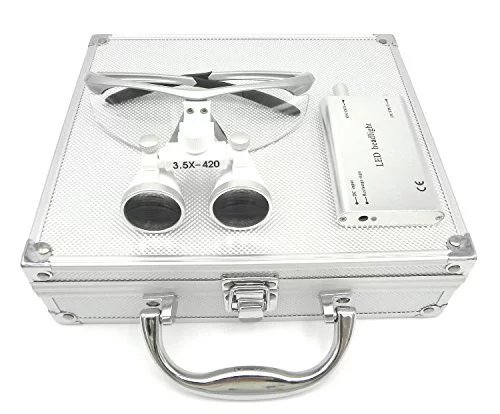 Ocean-Aquarius Silver Surgical Binocular Loupes 3.5x 420mm Working Distance Optical Glass with LED Head Light Lamp+Aluminum Box Silver