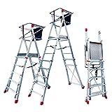 Faraone - Escalera con Plataforma PLS5-250x83x26 cm - Escalera 5 Peldaños - Escalera Plegable de Aluminio - Uso Profesional - Fácil de Transportar - Con ruedas - Altura Regulable