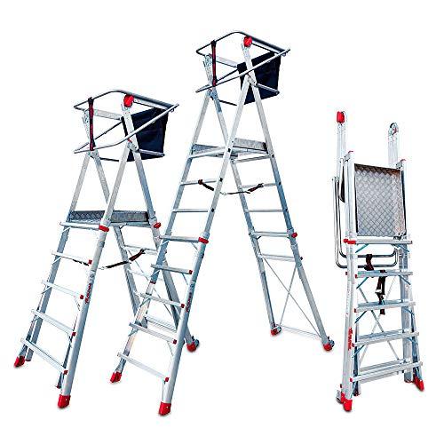 Faraone - Escalera con Plataforma PLS5-250x83x26 cm - Escalera 5 Peldaños - Escalera Plegable de Aluminio - Uso Profesional - Fácil de Transportar - Con ruedas - Amplio plano de trabajo