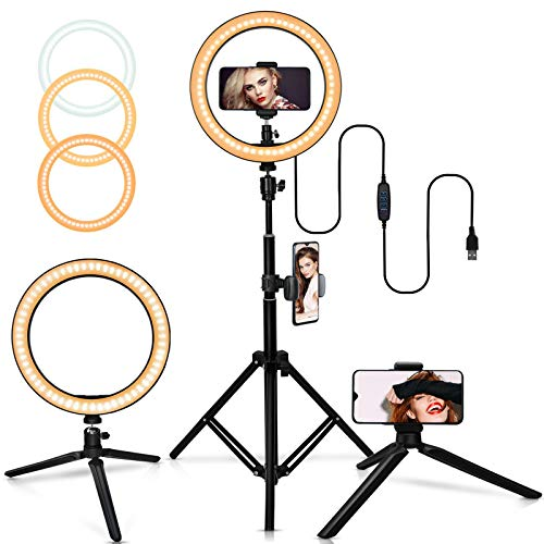 """Belifu 10"""" Selfie Ring Light with Adjustable Tripod Stand, 3 Modes 10 Brightness Levels, LED Ring Light with Phone Holder for Vlogs, Live Stream, Phone,YouTube,Self-Portrait Shooting"""