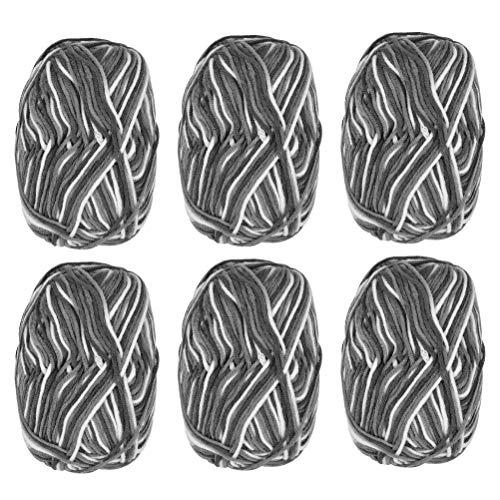 QLOUNI 6 x 50g Ovillos de Lanas de Hilo -Lanas para Tejer Ovillos para DIY y Tejer a Mano Colorido Conjunto de Hilo de Acrílico Algodón (Gris)
