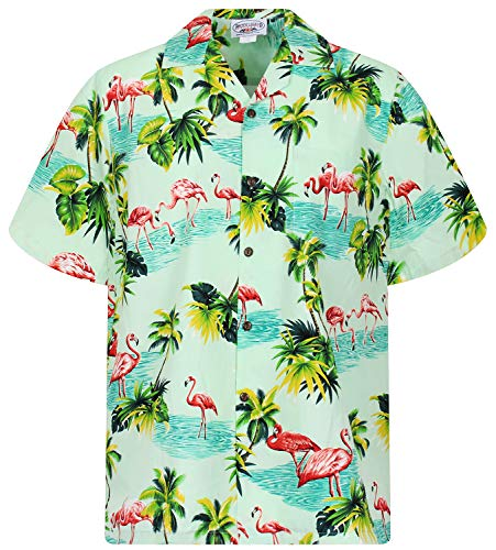P.L.A. Pacific Legend Original Hawaiihemd, Kurzarm, Flamingo, Türkis, L