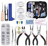 Queta Kit de DIY herramientas de fabricación de joyas, Herramientas para Hacer Exquisitos Pendientes, con 2 Rollos de Línea de Cristal Elástico y Perlas de Colores, para Hacer Joyas y Reparación