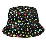 136 Cartoon Puzzle Wallpaper Bucket Hat Fisherman Hats Summer Packable Cap