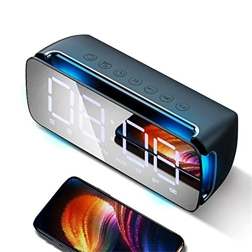 Draagbare Luidspreker Draadloze Bluetooth Speaker Dual Driver Wekker LED Display Stereo Soundbar Subwoofer Met Mic Desktopdecoratie (Color : Black, Size : 208x70x80mm)