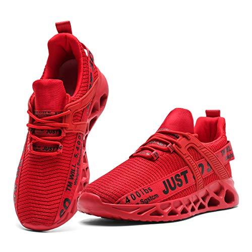 CAIQDM Schuhe Herren Laufschuhe StraßEnlaufschuhe Sneaker Outdoor Sportschuhe Turnschuhe Atmungsaktiv Joggingschuhe Männer Running Shoes Men Walking Schuhe Freizeitschuhe Rot 44 EU