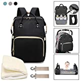 3 in 1 Travel Bassinet Baby Foldable Diaper Changing Station Portable Crib Baby Nappy Changing Bag for Newborn Baby Toddler, Travel Crib Infant Sleeper, Baby Nest with Mattress (Black)