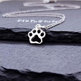 Sterling Silver Tiny Paw Print Charm Necklace 18