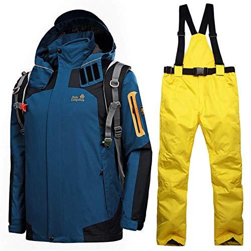 BCOGG Hiver Ski Costumes pour Hommes Imperméable À l'eau Thermique Snowboard Snow Vestes Montagne Ski Veste Pantalon Hommes Vêtements Ensemble XXX-Large Denim Bleu Jaune