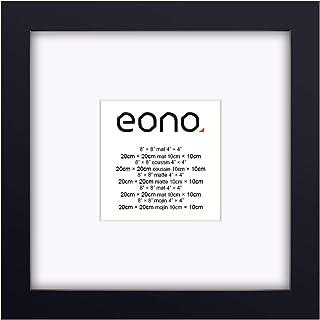 Eono by Amazon - Marco de Fotos de Madera Maciza y Cristal de Alta Definición para Sobremesa o Pared Fotos de 10x10 cm con paspartú y de 20x20 cm sin paspartú Negro