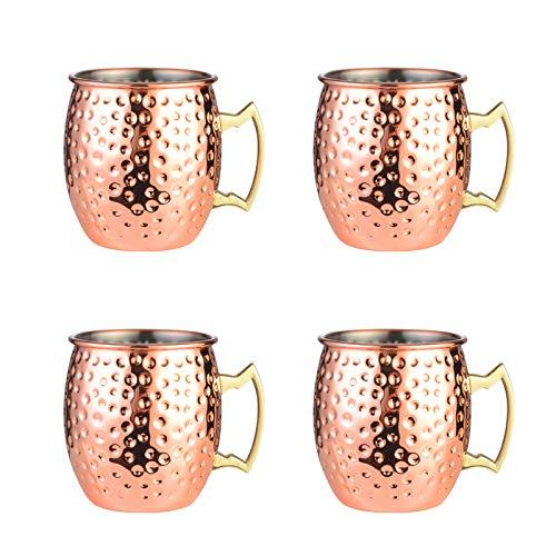 JIAYOUA 304 Copa de Vino de Acero Inoxidable Copa de Vidrio de Metal Barra de Vidrio Champagne de Vidrio de Vino Copa de Vidrio de Vino de 700 ml de Cobre, Juego de 4