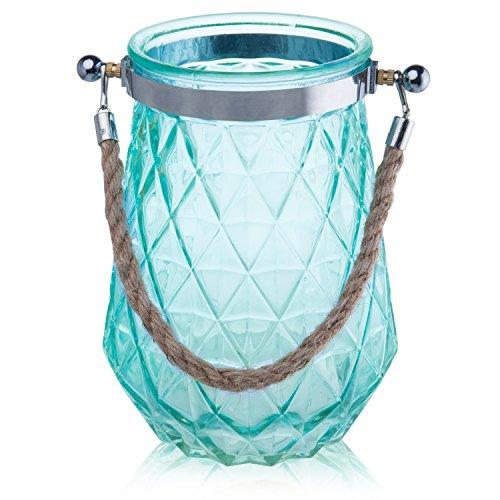 MyGift 8-Inch Aqua Glass Diamond Cut Vase with Twisted Rope Handle