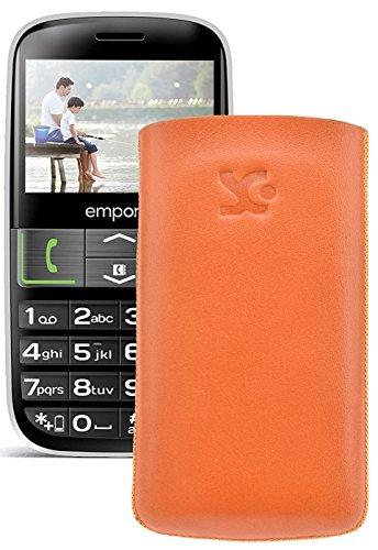 Original Suncase Tasche für / Emporia EUPHORIA V50 / Leder Etui Handytasche Ledertasche Schutzhülle Hülle Hülle - Lasche mit Rückzugfunktion* In Orange