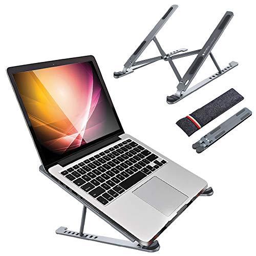 Soporte plegable de aleación de aluminio para ordenador portátil, ventilado, multiángulo, ajustable, incluyendo MacBook Pro/Air, Surface Laptop, Hp Notebook (gris)